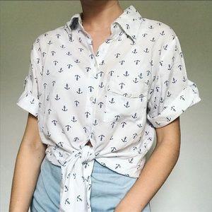 Anchor print button up shirt